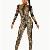 feminino, cantores, desempenho, roupa venda por atacado-Moda Preto Pedrinhas Pérola Longa Manga Bodysuit Feminino Cantora Boate Traje de Dança Grupo Jazz Performance Stage Desgaste Roupas de Dança