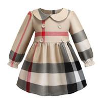 europa kinder mädchen herbst kleidung großhandel-Revers Langarm Kinder Designer Kleidung Mädchen Kleider INS Frühling Stile europäischen und amerikanischen Mädchen hochwertige Baumwolle großen Plaid Kleid 4568