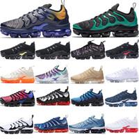 badminton ayakkabı markası toptan satış-2019 TN Artı Metalik Zeytin Kadın Erkek Erkek Koşu Tasarımcı Lüks Ayakkabı Sneakers Marka Eğitmenler eğitmenler ayakkabı