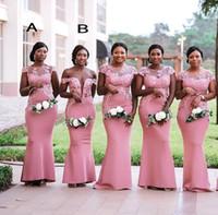 Wholesale royal blue plus size wedding dresses online - 2019 South African Nigeria Pink Mermaid Bridesmaids Dresses Plus Size Sheer Neck Lace Appliques Floor Length Wedding Guest Dress BM0614