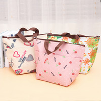 Wholesale product bags for sale - Group buy Portable Lunch Sack Insulated Coolers Flower Printing Bags Warmer Tote Handbag Camping Student Portable Outdoor Products kq UU