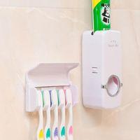 dispensador de pasta de dientes para montaje en pared al por mayor-Dispenser cepillo de dientes titular práctica Conjunto de montaje en pared Soporte pasta de dientes automático exprimidores OOA7557-2
