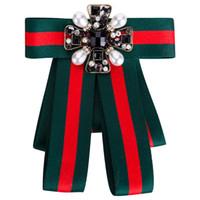broschen großhandel-Gestreifte Brosche Frauen Bowknot Vintage Weave Pins Abzeichen Böhmen Stimuliert Stein Broche Schmuck Mode Brosche Pins OOA6800