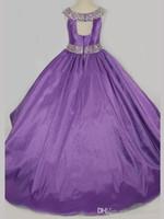 pembe tafta elbisesi çiçek toptan satış-Pretty Pembe Mor Kırmızı Tafta Boncuk Çiçek Kız Elbise Prenses Elbiseler kızın Pageant elbise Özel Made Boyut
