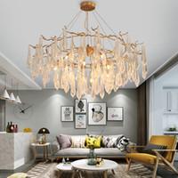 otel kristal askılı ışık toptan satış-Amerikan oturma odası / yatak odası Ağacı Şubesi Kolye Işıkları Altın renk demir Kristal kolye lamba Otel Projesi G9 arayüzü