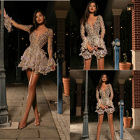 Wholesale sexy cocktail dresses for sale - Group buy Long Sleeve Cocktail Dresses Sexy Short Deep V Neck Flowers Beads Prom Dress See Through Crystal Mini Evening Gowns
