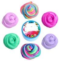 espuma de cristal al por mayor-DIY Fluffy Foam crystal Slime Clay Kids Alivia el estrés Juguete Algodón Barro Plastilina para niños 12 colores playdough C3234