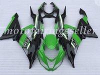 moule de carénage abs achat en gros de-Qualité OEM New ABS Injection Mold kits carénages 100% Fit Pour Kawasaki ZX6R NinjaZX-6R 636 13 14 15 16 17 Carrosserie noir et vert fixé