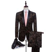 homens preto calças leopardo impressão venda por atacado-2 Suits Homens 2017 Últimas Pant Brasão Designs Black Velvet leopardo casamento ternos masculinos para homens Stage Wear