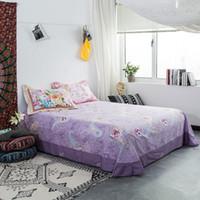 azul púrpura flores ropa de cama al por mayor-Sábanas de algodón azul de dibujos animados cama king size Hojas planas de alta calidad juego de ropa de cama ropa de cama sábana púrpura flor decoración animal