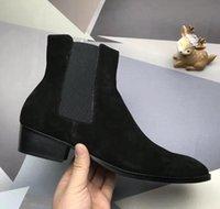botines hombre cuero negro al por mayor-Moda elegante del diseñador de los hombres de negocios de cuero Negro cargadores del caballero del top del alto inferiores rojos de los zapatos ocasionales Botas Marca Flat Ankle Boots r3