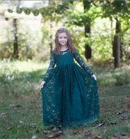 Wholesale hand made full sleeve girl dress for sale - Group buy High Quality Full Lace Flower Girl Dress with Full Sleeves Illusion Back Princess Dress Kids Foraml tom Made Pageant Gowns Tiered Lace Tulle