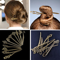 Wholesale chinese jewelry hairpin for sale - Group buy Bronze Vintage Hair Sticks Alloy Hollow Hairpins Hair Clip Chinese Traditional Ethnic Elegant Carved Female Retro Jewelry