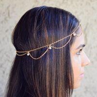 indische perlenstirnbänder großhandel-Imitation Perlen Kopf Kette Haarschmuck Stirnbänder Indian Boho Trendy Braut Haarschmuck Dekoration Hochzeit Kopfschmuck T190625