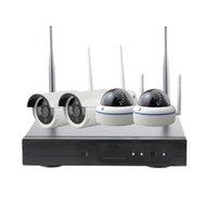 cctv kit cúpula al por mayor-Sistema inalámbrico de 4 canales CCTV Wifi NVR Kit Cámara IP Exterior e Interior VandalProof Cámara domo Wifi 1080P NVR Set