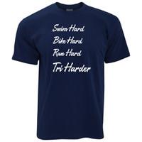 ingrosso cappelli duri neri-T-Shirt da Triathlon Swim, Bike and Run Hard - Tri Harder Slogan Sport T-shirt da palestra T-shirt rosa bianco nero grigio rosso pantaloni tshirt