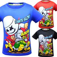 moda infantil impresa camisetas al por mayor-DJ Marshmello imprimir camisetas 2019 verano camisa del bebé Tops dibujos animados niños Tees 9 estilos moda producto Ropa de Niños C6201