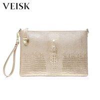 sacos de jacaré de ouro venda por atacado-VEISK Embreagem Mulheres Evening Clutch Bag Bolsa de couro genuíno Lurxury Clutches Purse Gold Ladies Party Jacaré Carteira Bolsa