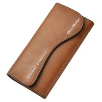 Wholesale mens leather wallet phone resale online - New Vintage Men Wallet Long Clutch Multifunction Zipper Phone Wallets Mens Business Leather Purse Money Bag Big Capacity