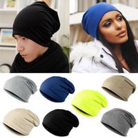 ingrosso pipistrello a slitta-Unisex donna uomo maglia inverno caldo sci uncinetto slouch cappello berretto Beanie oversize