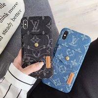 iphone jeans case toptan satış-Jean Pantolon Moda Telefon Kılıfı için iPhone X XS Max XR Kart Yuvası Cep Kapak iphone7 7 artı 8 8 artı 6 6 s Artı