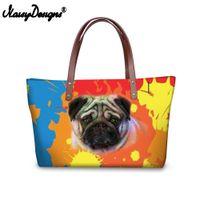 ingrosso totes stampati colorati-Donne Borse per la spesa Colorful Pug Dog Print Donne Messenger Borse Famous Brand Big Handbag per Lady Girl Travel Shoulder Tote