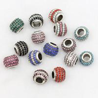 ingrosso perline diamanti sciolti-Fai da te in lega di argento tibetano branelli allentati diamante bead 10 * 12mm 10 colori branelli allentati della lega monili delle donne braccialetto di fascinoNecklace