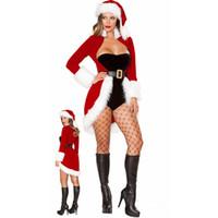 mulher sexy roupas de santa venda por atacado-Vestidos de natal Roupas Femininas Sexy Papai Noel Xmas Cosplay Traje De Veludo Vermelho Casaco Macacão Cinto Chapéu Conjunto de Natal