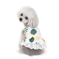 Wholesale thanksgiving skirt resale online - Dog Clothes Pineapple Printed Puppy Dress Cotton Dog Princess Dresses Breathable Fruit Pet Vest Skirt Pet Supplies3ColorWholesale WZW YW3729
