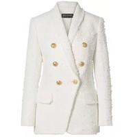 женские женские костюмы оптовых-Balmain Women Outerwear Coats Europe США Balmain - металлическая пряжка, голова льва была тонким длинным темпераментным пиджаком