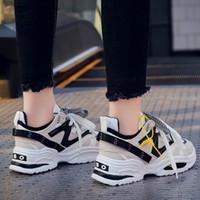 cuñas planas mujeres al por mayor-Mujeres Cuñas Moda Papá Zapatillas Nuevas Mujeres Tenis Zapatos 2019 Plataforma Zapatos Pisos Femeninos Chunky Zapatillas Caminar