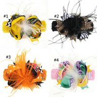 Wholesale baby feather headdress for sale - Group buy Kids Halloween Bow Feather Headband Hair Clip Dual Use Handmade Bow Feather Barrettes Festival Baby Girls Headdress