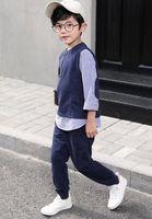 pantalon garçon deux couleurs achat en gros de-2019 nouveaux enfants de style printemps et en automne couleur pure pantalon à manches longues costume deux pièces de la mode garçon vêtements en coton