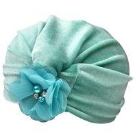 çiçekler elmas takılar inciler toptan satış-Çocuk Şapka Altın Kadife El-Dikişli Şapka Inci Taklidi Kakma Çiçek Hint Elastik Pilili Şapka Düz renk 61