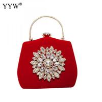 сотовый телефон свадьба оптовых-Red Vintage Rhinestone Clutch Bag Elegant Top Handle Handbag Crystal Evening Party Bags Clutches 2018 Wedding Cell Phone Pocket
