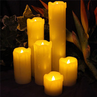 Wholesale real wax flameless candles resale online - 6Pcs set Flameless Candles Battery Operated Pillar Real Wax Electric LED Candle Gift Sets