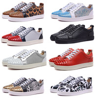 Wholesale silver flat shoes for women resale online - Mens Red Bottoms Skate Shoes Studded Spikes Bottom Flats Daily Casual Skateboarding Sneakers For Women Triple Black Silver Size US EUR