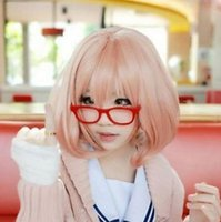 Wholesale straight pink cosplay wig for sale - WIG shipping New Fashion Pop Pink Short Cosplay Anime Wig