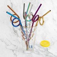 dekorasyon saman toptan satış-Yaratıcı Tortile 304 Paslanmaz Çelik Hasır Yeniden kullanılabilir İçme Pipetler Renkli Metal Straw Parti Düğün Bar Araçları Dekorasyon İçme