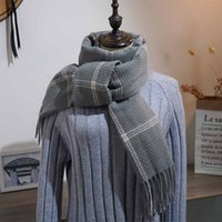 Wholesale big wool shawl resale online - Fashion New Winter woman Wool plaid Scarf Female big size European and American StripesSimple Chequered Shawl Neck