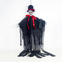Wholesale skeleton decor resale online - Air Solid Skeleton Halloween Hanging Ghost with Hand Scary Haunted House Horror Prop Party Decor
