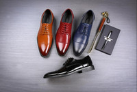 Wholesale mens handmade leather dress shoes for sale - Group buy Handmade Designer Vintage Retro Fashion Luxury Casual Wedding Party Brand Male Genuine Leather Mens Derby Dress Shoes