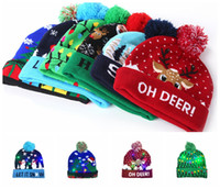 Wholesale beanies lights resale online - Hats LED Knitting Hat Led Lighting Pom Beanie Kids Adult Snowflake Xmas Crochet Hats Lights Knitting Crochet Hat Party Favor CNY1725