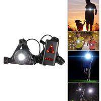 lanternas led mais recentes venda por atacado-Mais novo esporte ao ar livre luzes running q5 led night running lanterna luzes de advertência usb carga chest chest à prova d 'água 3 modos de luz da tocha