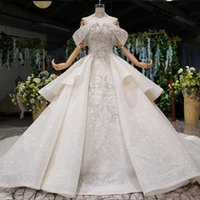 Wholesale sexy luxury crystals wedding dress resale online - plus size wedding dresses bridal gowns lace up back Sequins beading Crystal Appliques Patterns luxury wedding gowns Hochzeitskleider