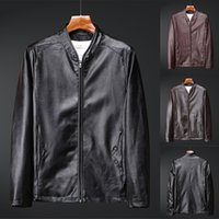 Wholesale retro motorcycle jacket resale online - Men s Casual Long Sleeve Motorcycle Leather Jacket Autumn Winter New Retro Solid Collar Jacket Pure Long Sleeved Leather Coat