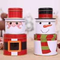 rosa cookie-boxen großhandel-Weihnachtsschmuck für zu Hause Drei-Ebenen-Weißblech Candy Jar Cookie-Box Weihnachtsmann Weihnachten Neujahr Kinder kreative Geschenkbox