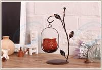 candelero de metal huracán al por mayor-Metal Owl Candlestick Hurricane Lantern para decoración navideña Candelabro Decoración vintage Candle Lantern Centerpiece