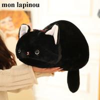 almohadas anime gato al por mayor-Mon lapinou gato negro peluche lindo dibujo animado japonés San-X figura de anime kutsushita nyanko juguetes de peluche gato almohada juguete para niños