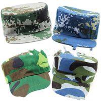 Wholesale plain camp hat online - Camouflage Cap Medium Pupil Military Training Hat Motion Ocean Caps Plain Weave Ultra Thin Breathable Camping Factory Direct dcC1